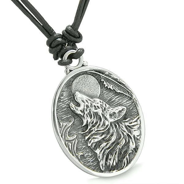 Amulet Howling Wolf and Moon Wild Powers Lucky Charm Pendant on Adjustable Leather Cord Necklace