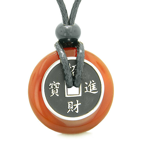 Amulet Lucky Coin Charm Donut Carnelian Gemstone Magic Spiritual Powers Adjustable Necklace