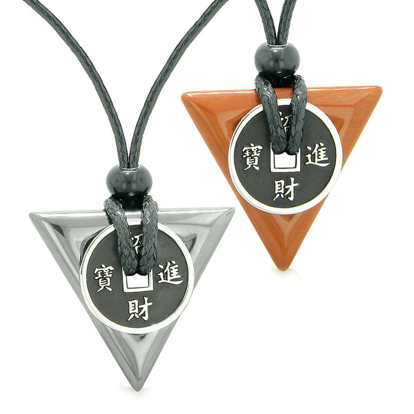 Amulets Lucky Coin Triangle Magic Powers Hematite Red Jasper Love Couples or Best Friends Necklaces