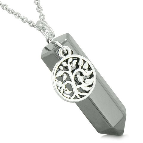 Magical Tree of Life Energy Amulet Lucky Crystal Point Hematite Pendant 18 Inch Necklace