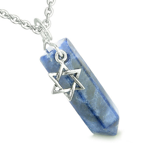 Amulet King of Solomon Star of David Crystal Point Magic Charm Sodalite Spiritual Pendant Necklace