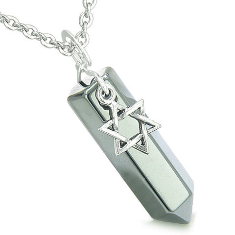 Amulet King of Solomon Star of David Crystal Point Magic Charm Hematite Spiritual Pendant Necklace