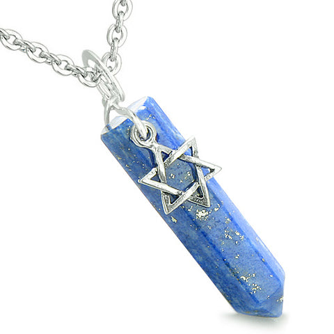 Amulet King of Solomon Star of David Crystal Point Magic Lapis Lazuli Spiritual Pendant Necklace