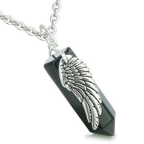 Amulets Energy Love Couple or Best Friends Angel Wings Crystal Points Jade Onyx Pendants Necklaces