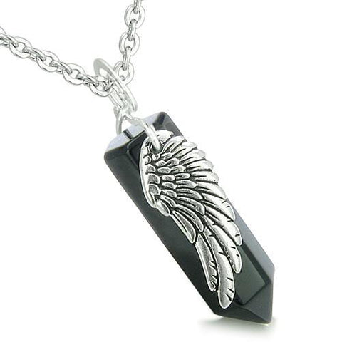 Amulet Angel Wing Archangel Michael Magic Crystal Point Onyx Spiritual Pendant Necklace