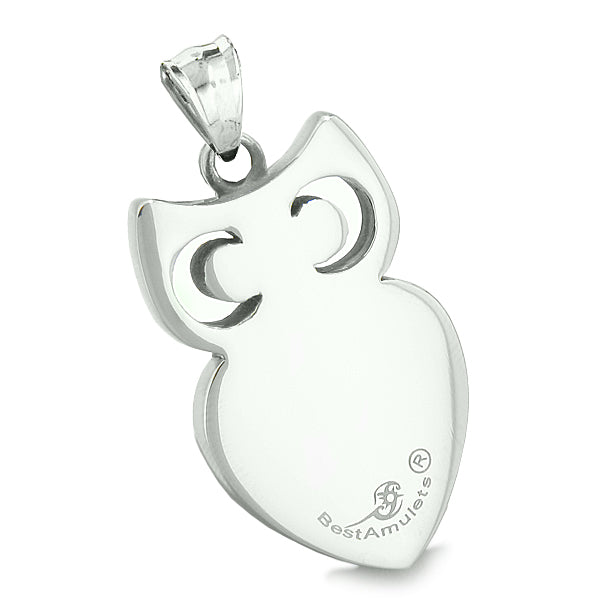 Amulet Owl Cute Heart Lucky Charm Positive Energy White Cat's Eye Pendant Leather Necklace