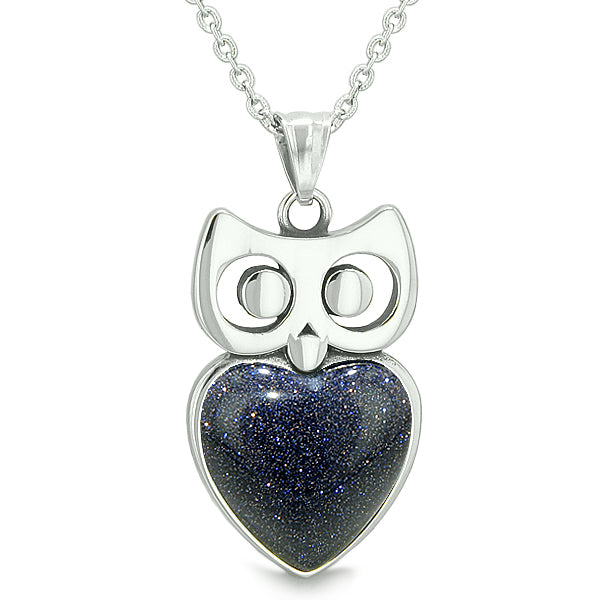 Amulets Owl Cute Hearts Love Couples or Best Friends Set Faux Black Onyx Blue Goldstone Necklaces