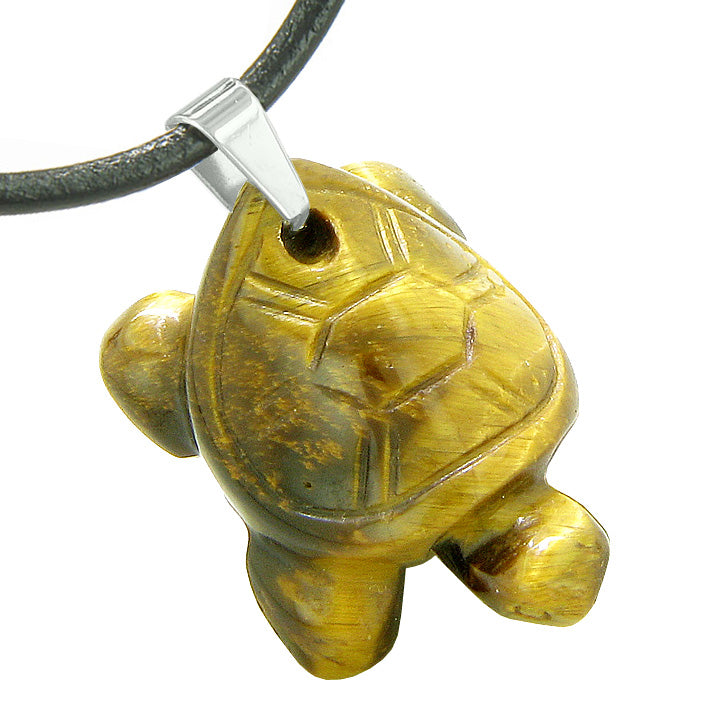 Amulet Turtle Cute Lucky Charm Healing Protection Powers Tiger Eye