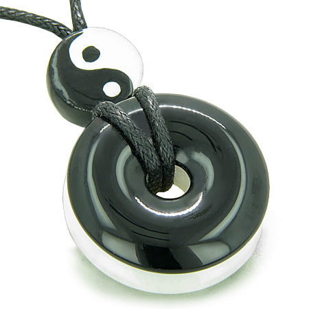 Amulet Double Lucky Yin Yang Donuts in Onyx Jade Gemstones Spiritual Good Luck Powers Necklace