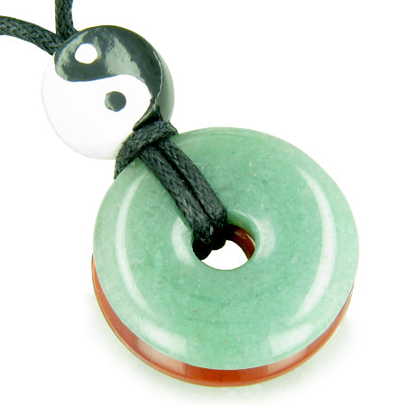Amulet Double Lucky Yin Yang Donuts Jasper Green Aventurine Gemstones Believe Money Powers Necklace
