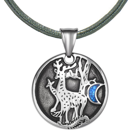 Unity Amulet Deer Family Wild Woods and Moon Powers Simulated Turquoise Chips Pendant Leather Necklace
