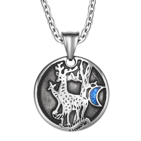 Unity Amulet Deer Family Wild Woods and Moon Powers Simulated Turquoise Chips Pendant 18 Inch Necklace