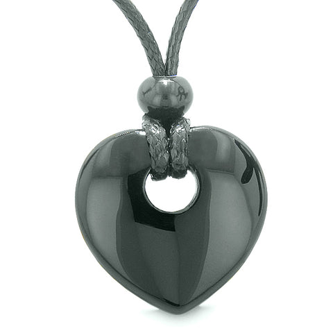 Amulet Lucky Heart Donut Shaped Charm Agate Gemstone Pendant Spiritual Healing Powers Necklace