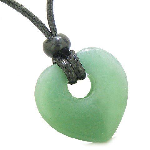 Amulet Lucky Heart Donut Shaped Charm Green Quartz Gemstone Pendant Spiritual Healing Necklace