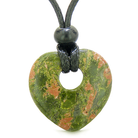 Amulet Lucky Heart Donut Shaped Charm Unakite Gemstone Pendant Spiritual Healing Necklace