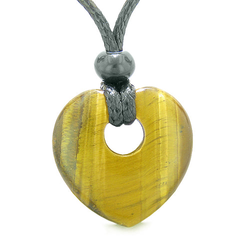 Amulet Lucky Heart Donut Shaped Charm Tiger Eye Gemstone Pendant Spiritual Healing Necklace