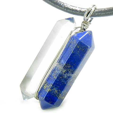 Individual Amulet Double Crystal Point Lapis Lazuli Rock Quartz Gemstones Pendant Silver Necklace