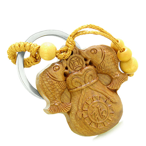 Amulet Double Lucky Fortune Fish Money Bag Good Luck Coin Charms Feng Shui Keychain Blessing