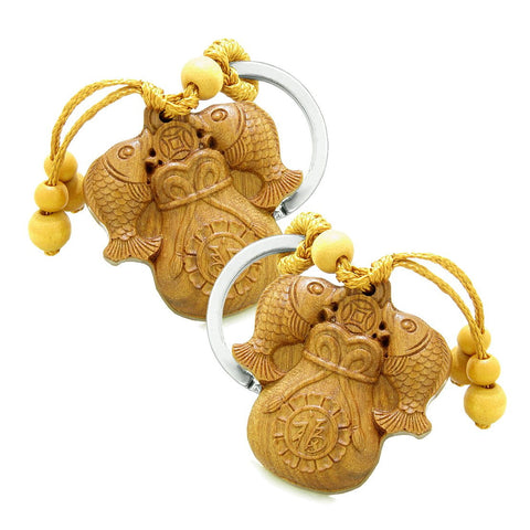 Amulet Double Lucky Fortune Fish Money Bag Good Luck Coin Charms Feng Shui Keychain Set Blessings