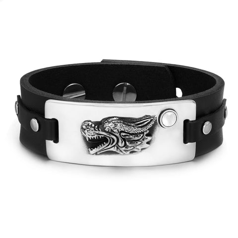 Courage Dragon Magic Protection Powers Amulet White Simulated Cats Eye Adjustable Leather Bracelet