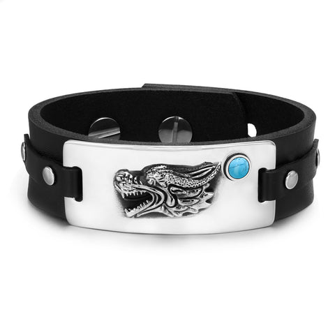 Courage Dragon Magic Protection Powers Amulet Simulated Turquoise Adjustable Leather Bracelet