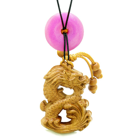 Brave Magic Dragon Lucky Car Charm or Home Decor Hot Pink Quartz Donut Protection Powers Amulet