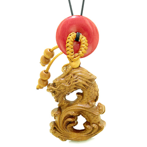 Brave Magic Dragon Lucky Car Charm or Home Decor Cherry Red Quartz Donut Protection Powers Amulet