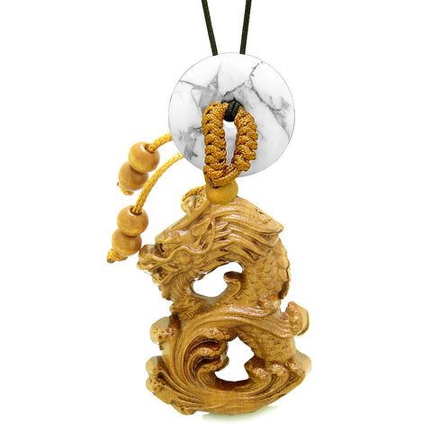 Brave Magic Dragon Lucky Car Charm or Home Decor White Howlite Donut Protection Powers Amulet