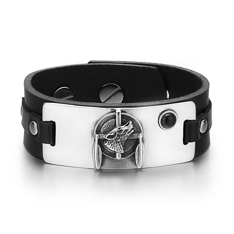 Howling Wolf Dreamcatcher Magic Amulet Tag Simulated Black Onyx Adjustable Black Leather Bracelet