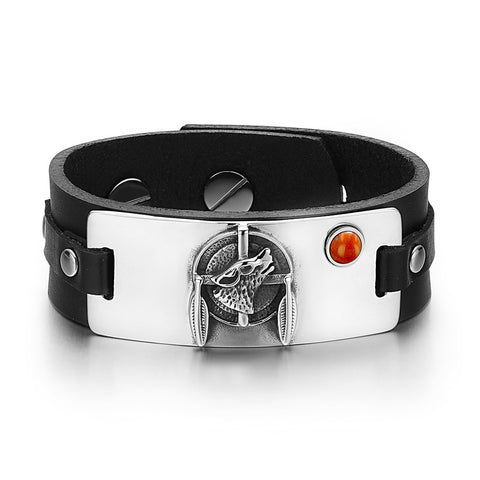Howling Wolf Dreamcatcher Magic Amulet Tag Red Jasper Gemstone Adjustable Black Leather Bracelet
