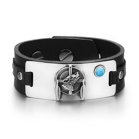 Howling Wolf Dreamcatcher Magic Amulet Tag Simulated Turquoise Adjustable Black Leather Bracelet