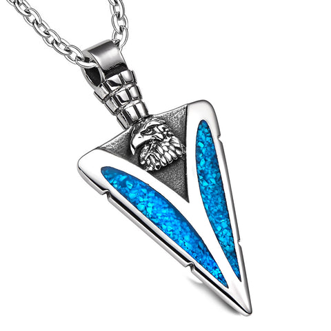 Arrowhead American Eagle Head Brave Powers Protection Amulet Simulated Turquoise Pendant 22 Inch Necklace