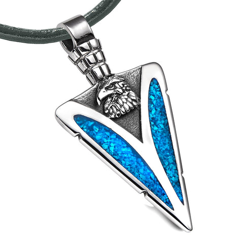 Arrowhead American Eagle Head Brave Powers Protection Amulet Simulated Turquoise Pendant Leather Necklace