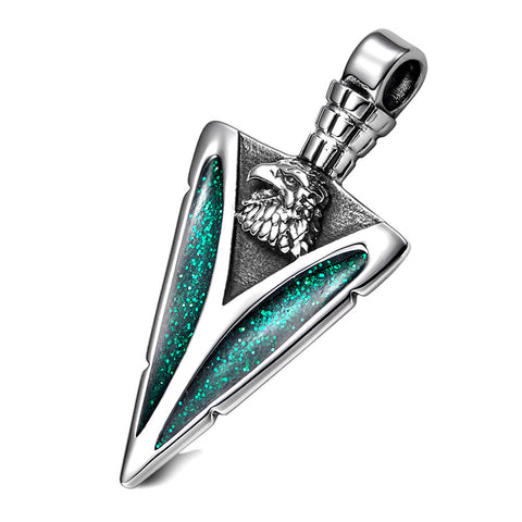 Arrowhead American Eagle Head Brave Powers Protection Amulet Sparkling Royal Green Pendant