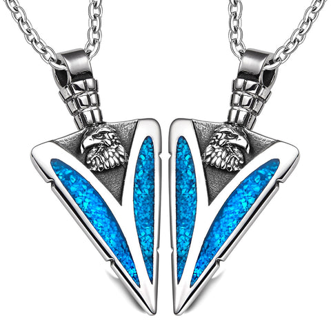 Arrowhead Wild American Eagle Head Love Couples BFF Set Protection Amulets Simulated Turquoise Necklaces