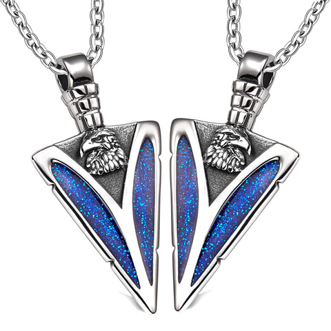 Arrowhead Wild American Eagle Head Love Couples or BFF Set Protection Amulets Sparkling Blue Necklaces