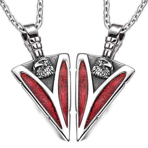 Arrowhead Wild American Eagle Head Love Couples or BFF Set Protection Amulets Sparkling Red Necklaces