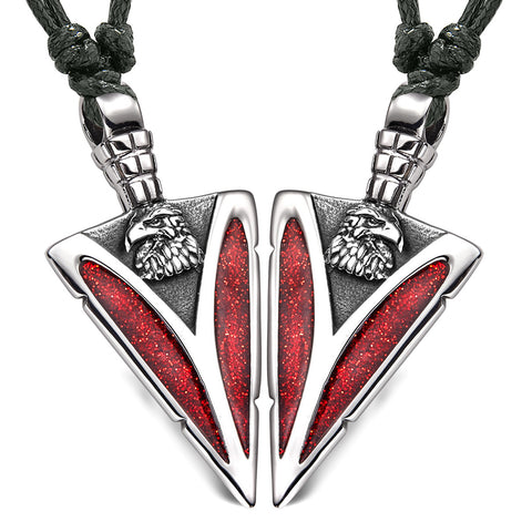 Arrowhead Wild American Eagle Head Love Couples or BFF Set Amulets Sparkling Red Adjustable Necklaces