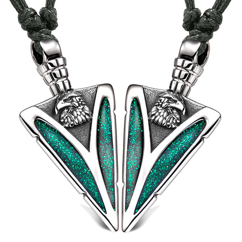 Arrowhead Wild American Eagle Head Love Couples or BFF Set Amulets Sparkling Green Adjustable Necklaces