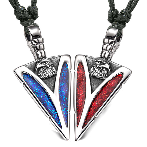 Arrowhead Wild American Eagle Head Love Couples BFF Set Amulets Sparkling Blue Red Adjustable Necklaces