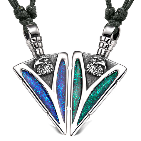 Arrowhead Wild American Eagle Head Love Couples BFF Set Amulets Sparkling Blue Green Adjustable Necklaces