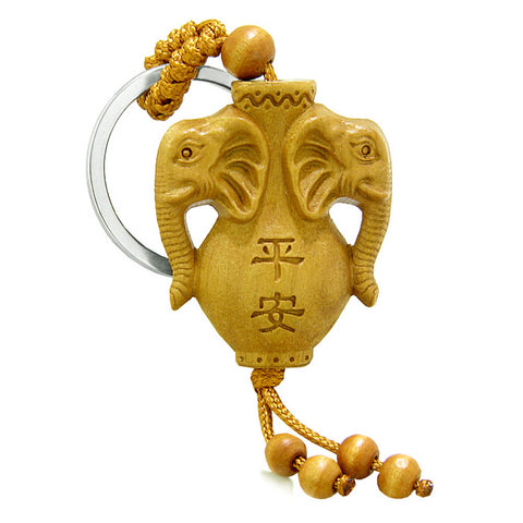 Amulet Double Lucky Elephants Spirit Jar Good Luck Protection Powers Feng Shui Keychain Set Blessings