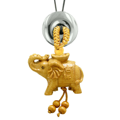 Good Luck Elephant Money Ingot Car Charm or Home Decor Hematite Lucky Coin Donut Protection Amulet