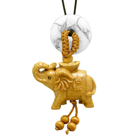 Good Luck Elephant Money Ingot Car Charm or Home Decor White Howlite Lucky Coin Donut Protection Amulet
