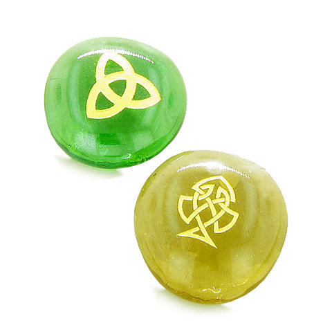 Inspirational Amulets Magic ProtectiAncient Celtic Good Luck Charms Glass Engraved Stones