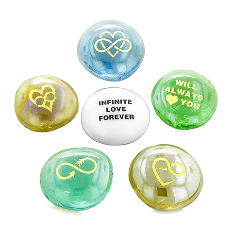 Inspirational Amulets Infinite Love Romance Powers for Couples Lucky Charms Glass Engraved Stones