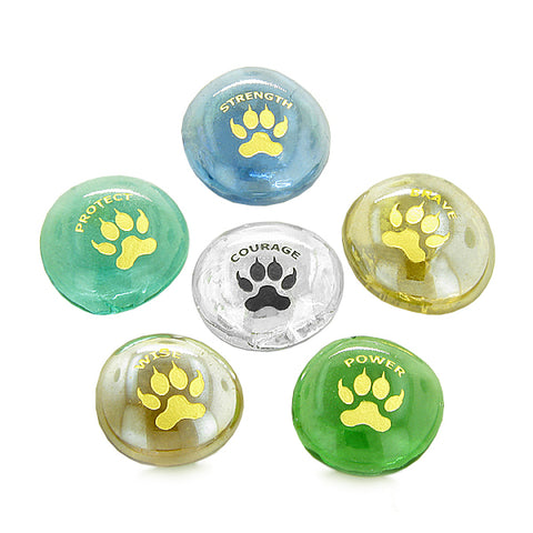 Inspirational Amulets Courage Wolf Paws Self Confidence Good Luck Charms Glass Engraved Stones