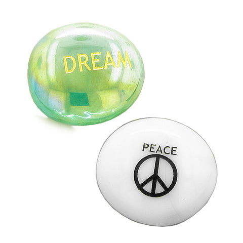 Inspirational Amulets Focus Yin Yang Balance Magic Dreams Good Luck Charms Glass Engraved Stones