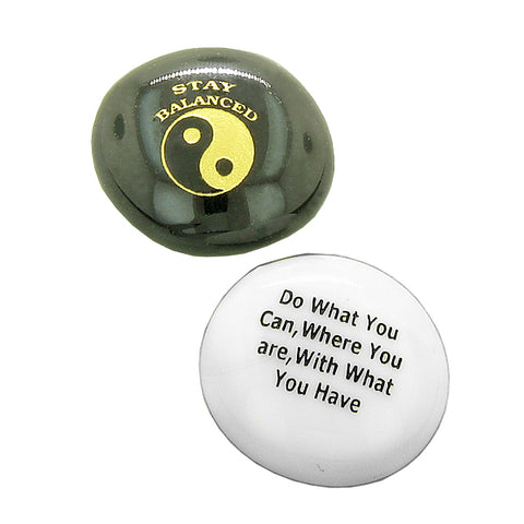 Inspirational Amulets Motivation and Encouragement Yin Yang Magic Powers Glass Engraved Stones Set