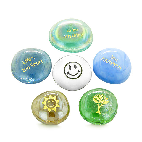 Inspirational Amulets Life Spirit Positive Happy Energy Good Luck Charms Glass Engraved Stones